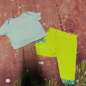 Nannette Matching Sets - Green Polka Dot Leggings & Blue Onesie Set